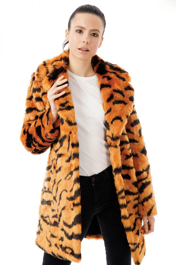 Image displays the long length tiger print faux fur jacket on a model fully opened to give you an idea of the length of the jacket. The coat does not fall below the knees but it does fall below the hips. Model is a size 8.