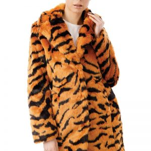 IMage displays the tiger print full length coat on a model totally buttoned up so that you can see what the jacket looks like closed.