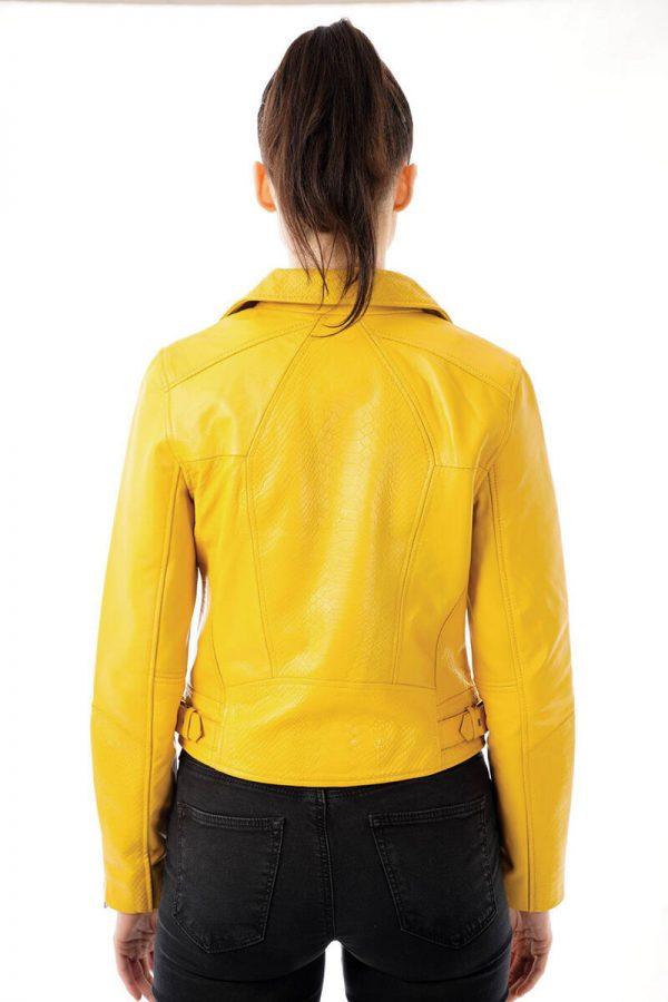 SHR 288 in YELLOW. Image diplays the jacket worn by a size 8 model from the back so that you get a better idea of when the hem sits. This jacket falls to the waist like most classic biker jackets. You can also see the gorgeous snake print embossed patter on the back of the jacket. You'll also notice two small buckles on the waist.