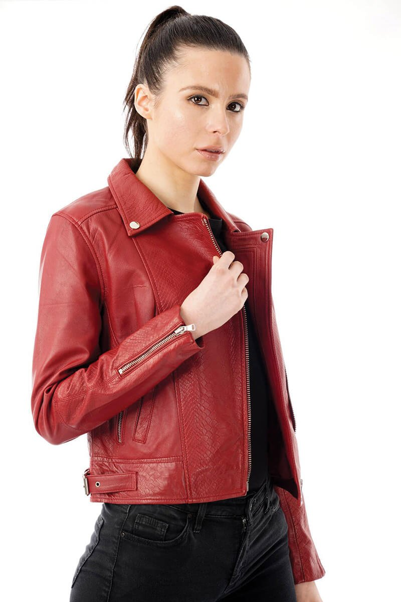 This image displays the rela leather jacket with snake print detailing from the side, as worn by a side 8 model.