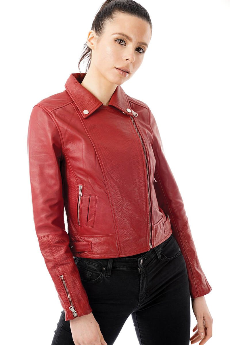 Image shows a size 8 woman wearing the red leather jacket with snake print detailing. The jacket is fully zipped and she is slightly turned to the side to you can see the silver sipped side pockets.