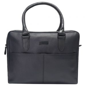 This image shows a Barney & Taylor matte black messenger bag. This image shows the bag from the front.