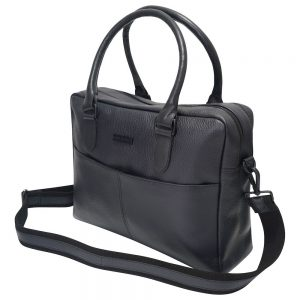 This image shows a Barney & Taylor matte black messenger bag.