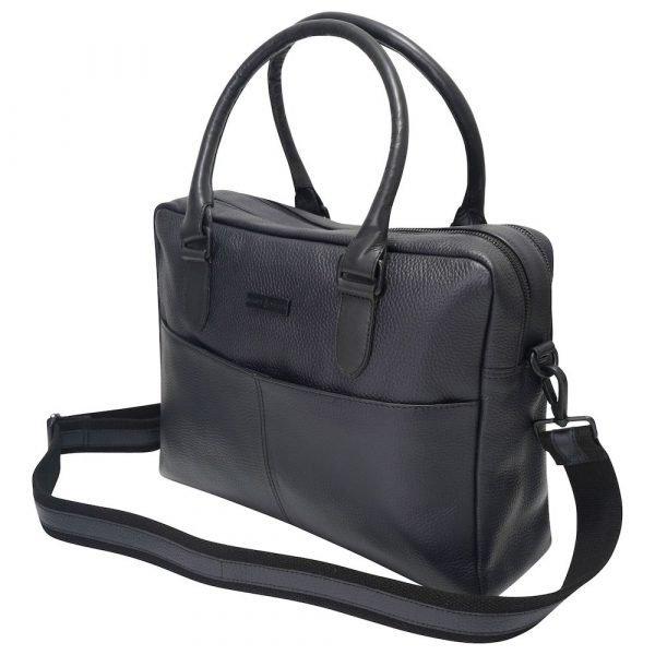 This image shows a Barney & Taylor matte black messenger bag.