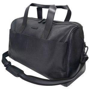 This image shows a Barney & Taylor black leather holdall.