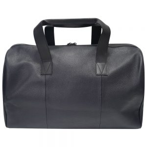 This image shows a Barney & Taylor black leather holdall. This image focuses on the back of the holdall.