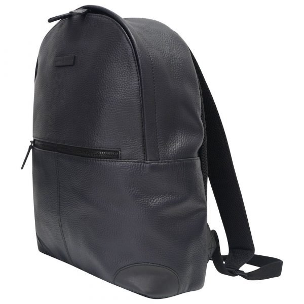 This image shows a black Barney & Taylor backpack. This image shows the bag from the side.