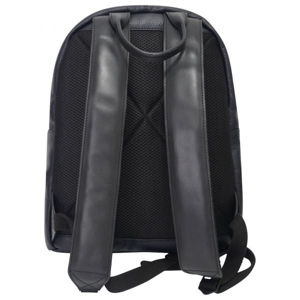 This image shows a black Barney & Taylor backpack. This image shows the backpack from behind
