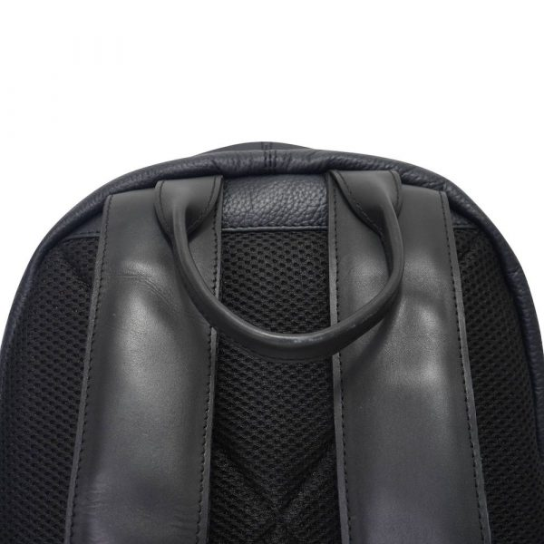 This image shows a black Barney & Taylor backpack. This image shows the straps of the backpack.