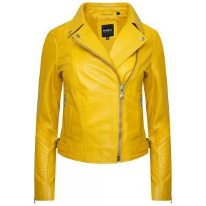 This image shows a Barneys Originals Women's Real Leather Snake Print Biker in Yellow.