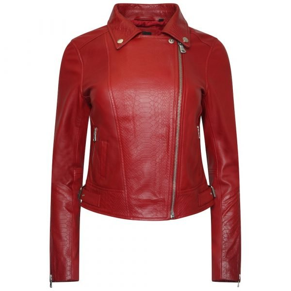 This image shows a Barneys Originals Women's Real Leather Biker with Snake Print Detailing in Red. This image focuses on the jacket whilst zipped to the top.