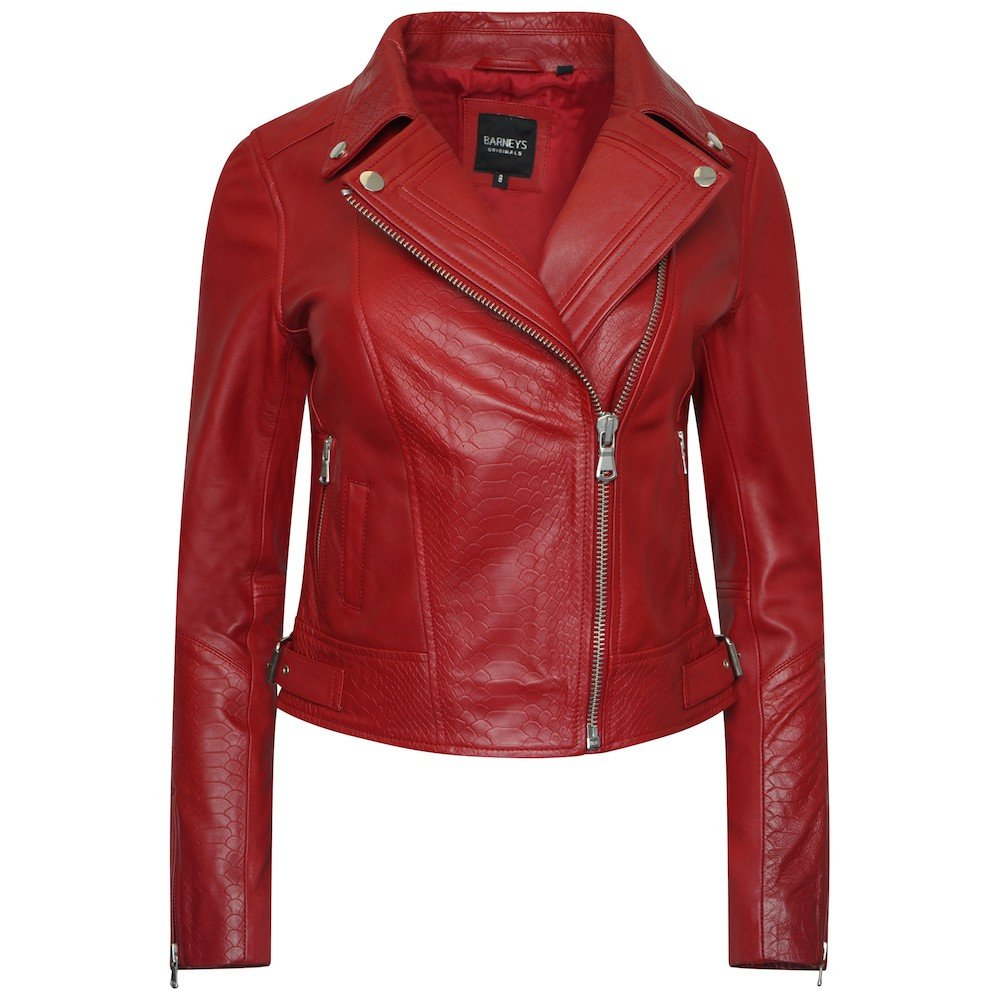 This image shows a Barneys Originals Women's Real Leather Biker with Snake Print Detailing in Red