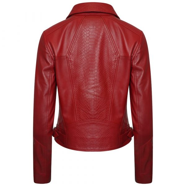 This image shows a Barneys Originals Women's Real Leather Biker with Snake Print Detailing in Red. This image focuses on the back of the jacket.