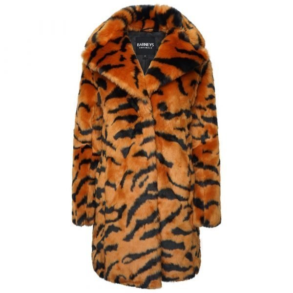 This image shows a Barneys Originals Long length Tiger Print Faux Fur Coat.