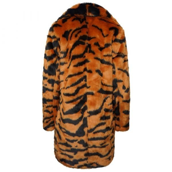 This image shows a Barneys Originals Long length Tiger Print Faux Fur Coat. This image focuses on the back of the jacket.