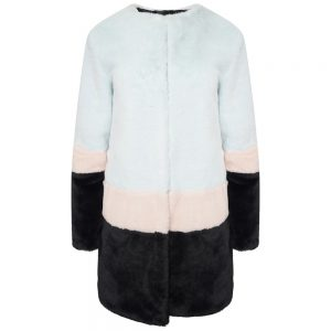 This image shows a Barneys Originals Oversized Colour-Block Faux Fur Coat.