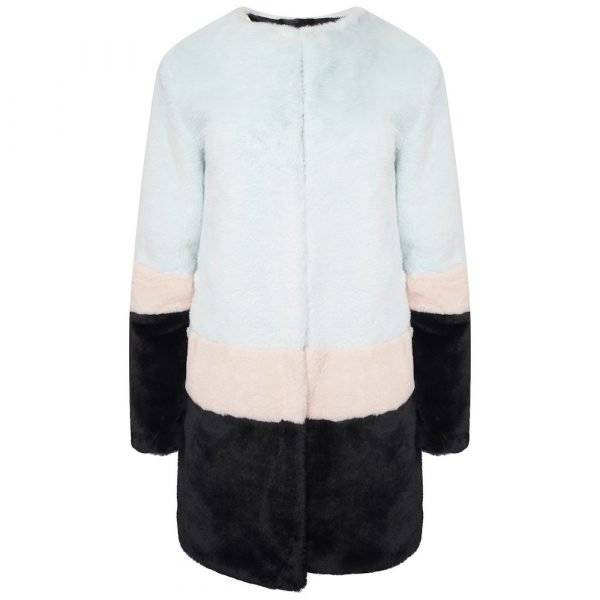 This image shows a Barneys Originals Oversized Colour-Block Faux Fur Coat.