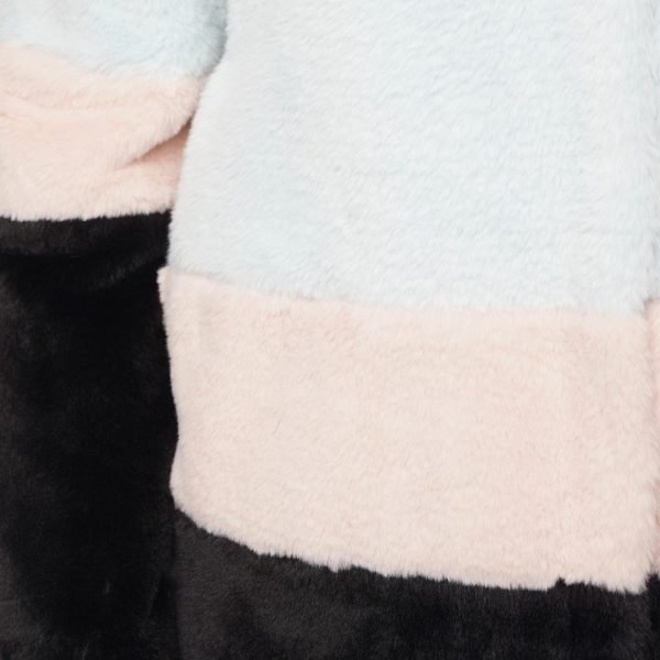 This image shows a Barneys Originals Oversized Colour-Block Faux Fur Coat. This image focuses on the colour block of the jacket.