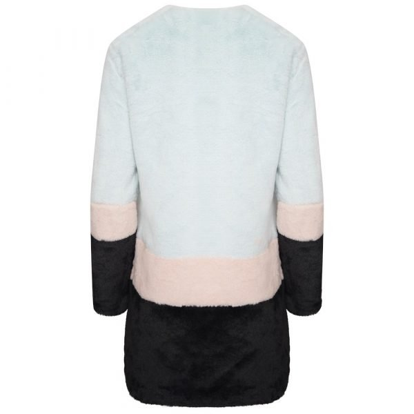 This image shows a Barneys Originals Oversized Colour-Block Faux Fur Coat. This image focuses on the back of the jacket.