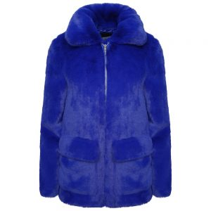 This image shows a Barneys Originals Royal Blue High Neck Faux Fur Trucker Jacket.