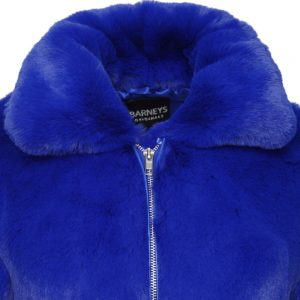 This image shows a Barneys Originals Royal Blue High Neck Faux Fur Trucker Jacket. The photo focuses on the collar and front zip of the jacket.