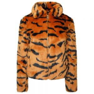 This image shows a Barneys Originals Tiger Print Faux Fur Cropped Jacket.