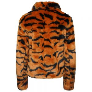 This image shows a Barneys Originals Tiger Print Faux Fur Cropped Jacket. This image focuses on the back of the jacket.