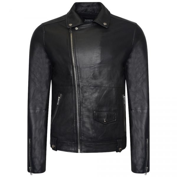 This image shows a Barneys Originals Men's Classic Real Leather Asymmetric Biker. This particular image focuses on the jacket whilst being zipped to the top.