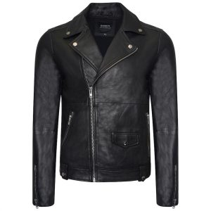 This image shows a Barneys Originals Men's Classic Real Leather Asymmetric Biker
