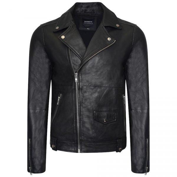 This image shows a Barneys Originals Men's Classic Real Leather Asymmetric Biker