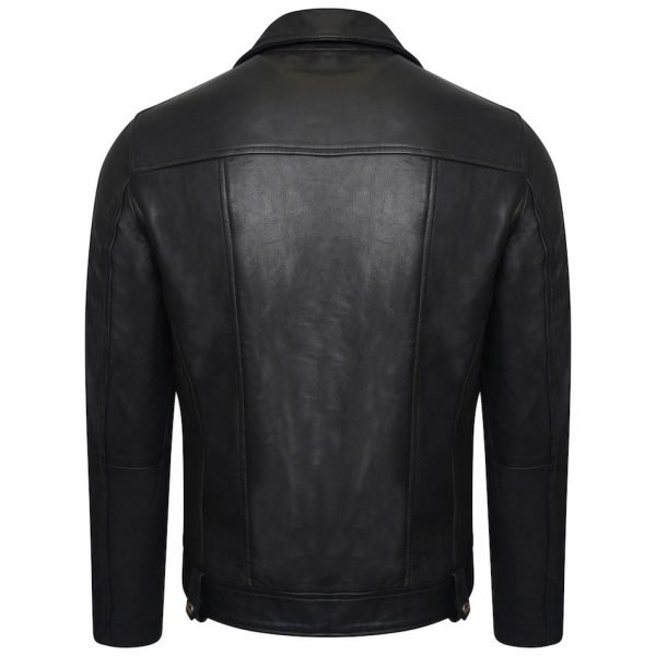 This image shows a Barneys Originals Men's Classic Real Leather Asymmetric Biker. This particular image focuses on the back of the jacket.