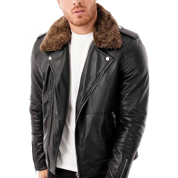 This Image shows a man's Barneys Originals biker jacket with a detachable faux fur hood worn by our model. In this picture the model is wearing the jacket open.