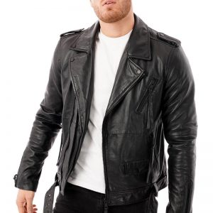This image shows a men's barneys originals black biker jacket being worn by our model. In this picture he has the jacket unfastened.