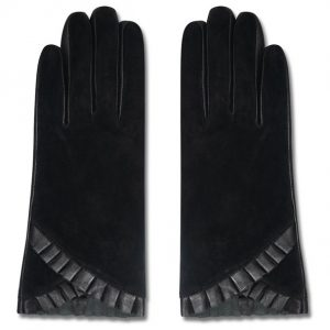 Image displays real suede black gloves that have subtle pleated detailing on the cuffs.