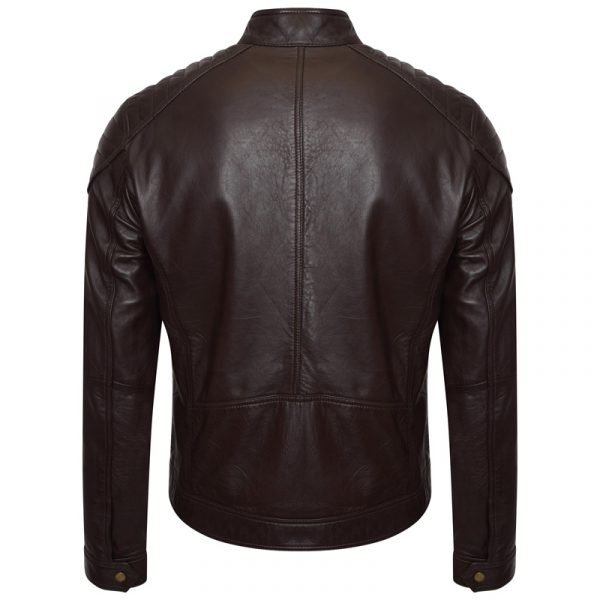 This image shows a Barneys Originals men's brown real leather jacket. This image focuses on the back of the jacket.