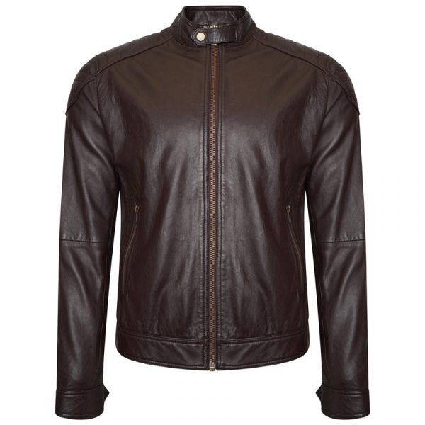 This image shows a Barneys Originals men's brown real leather jacket.