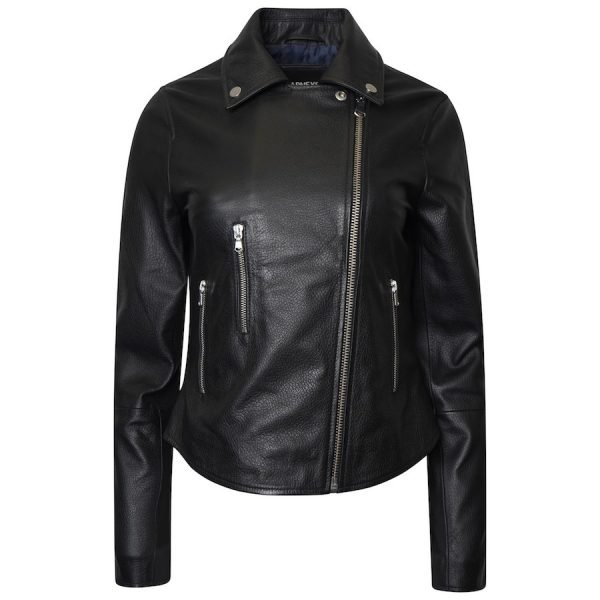The image displays the jacket fully zipped up to show the shape of the asymmetric fit. The zip is silver. As the jacket is shot from the front, you can see that the leather jacket also has 3 pockets.