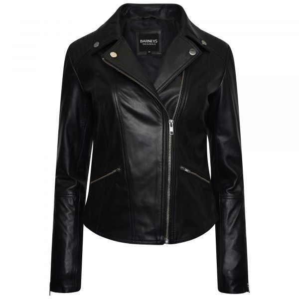 Image shows a women's asymmetric black leather jacket on an invisible mannequin, zipped halfway up.