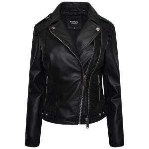 Image displays a black leather jacket made from 100% real leather, made by Barneys Originals. The jacket has 2 zips making it quite unique!