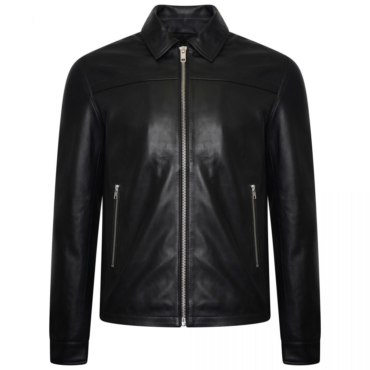 Image displays the men's real leather trucker jacket from Barneys Originals on an invisible mannequin. The jacket is a trucker style with a collar and two silver zipped pockets.