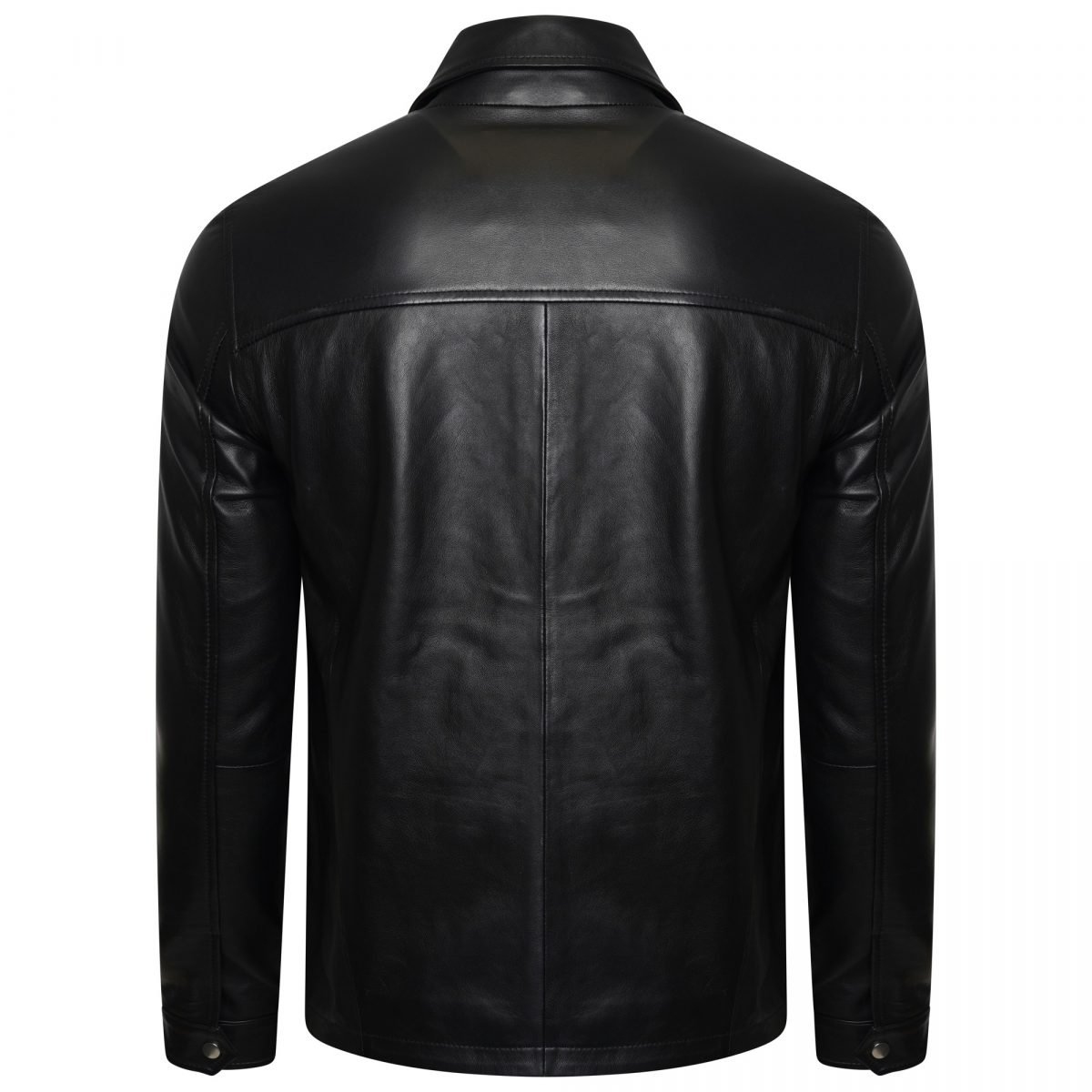 Image displays the men's real leather trucker jacket form the back on an invisible mannequin. You can see the simple leather paneling. The middle of the back has a seem running down it.