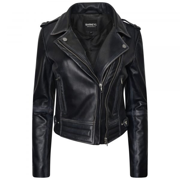 Image displays a unique women's real leather jacket designed by Barneys Originals. The jacket is shot on an invisible mannequin and the zip is partially open to show the asymmetric fit. The jacket is black with a subtle washed fade around the stitching. It has silver zips.