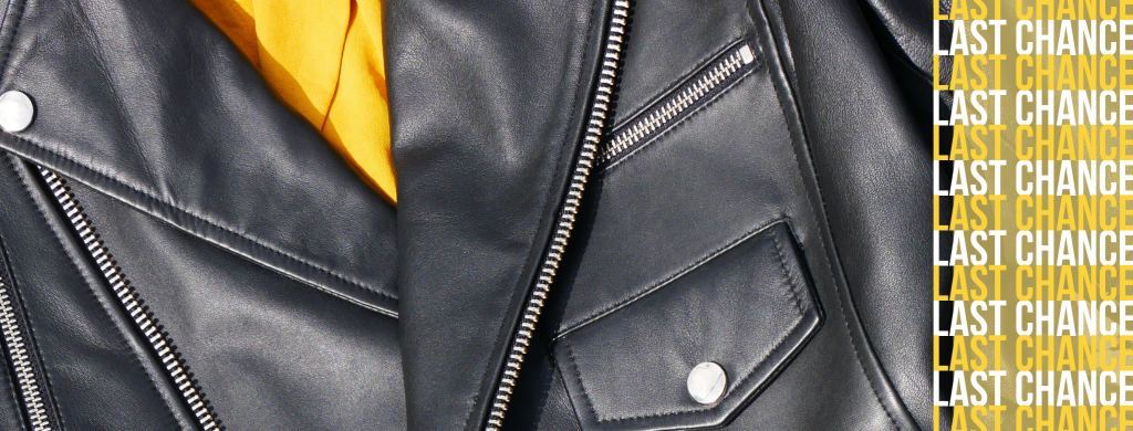 image displays a promotional banner that reminds shoppers that in this section they can find all of our jackets that are no longer available on the websites of our wholesale partners. The image included shows a close up of a soft leather jacket with a smooth texture, styled with a yellow shirt.