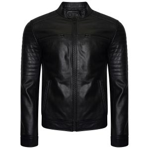 Image displays the new Barneys Originals black real leather racer jacket with ribbed shoulders. The jacket has matte black zips and trims. It has two pockets on the front of the jacket. In the image the jacket is worn by an invisible mannequin.