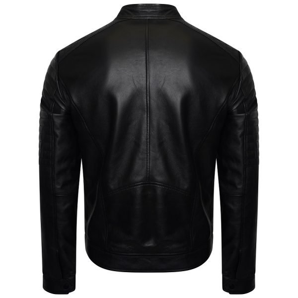 Image displays a bl;ack real leather biker jacket shot on an invisible mannequin from the back. The jacket has a seem down the middle.