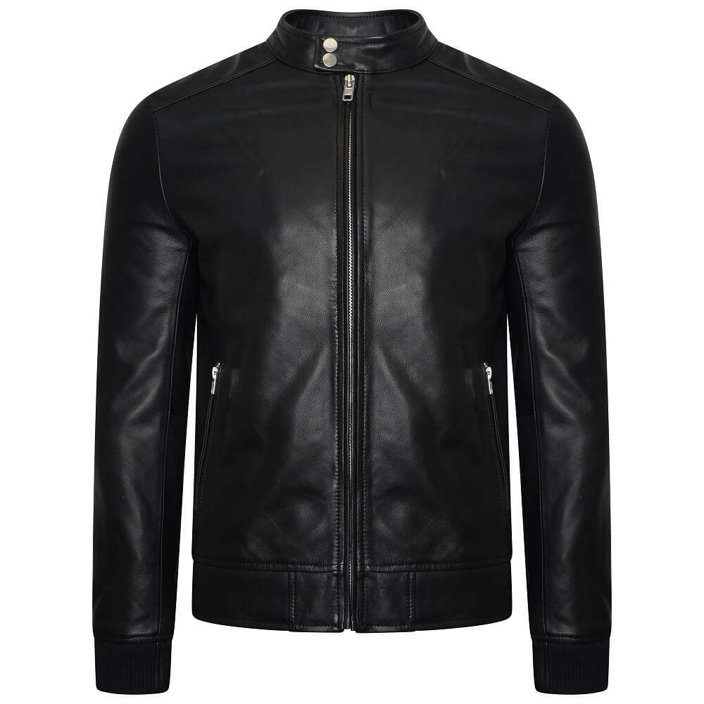 This image shows the real leather bomber jacket from Barneys Originals for men. The jacket has two pockets with silver zips. The jacket also has a high neck with two pop studs.