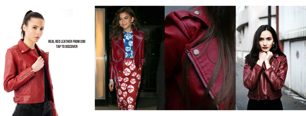 Image displays a Barneys Originals real leather red jacket for women and also has three different piece of style inspiration. In the first outfit the jacket is worn with light jeans, in the second image the red leather jacket is worn with a printed dress which slightly clashes with the jacket.