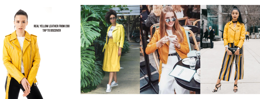 Image displays a Barneys Originals leather jacket and seperately sourced yellow leather jacket outfit inspiration. The first outfit features a yellow leather jacket and a matching yellow skirt. The second outfit features a chic white jumpsuit to put the full focus on the colour of the jacket. The final outfit pairs bold striped trousers with a yellow leather jacket for a truly head-turning look.