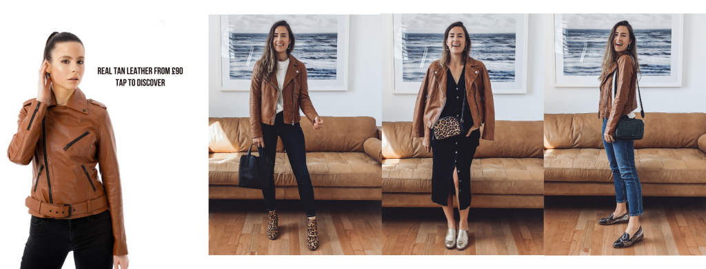 Image displays an inspiration board of tan leather jacket outfits and the boots which can be paired with them - the fitst images shows leopard print boots, the second is shiny sandals and the third is snake print mules.