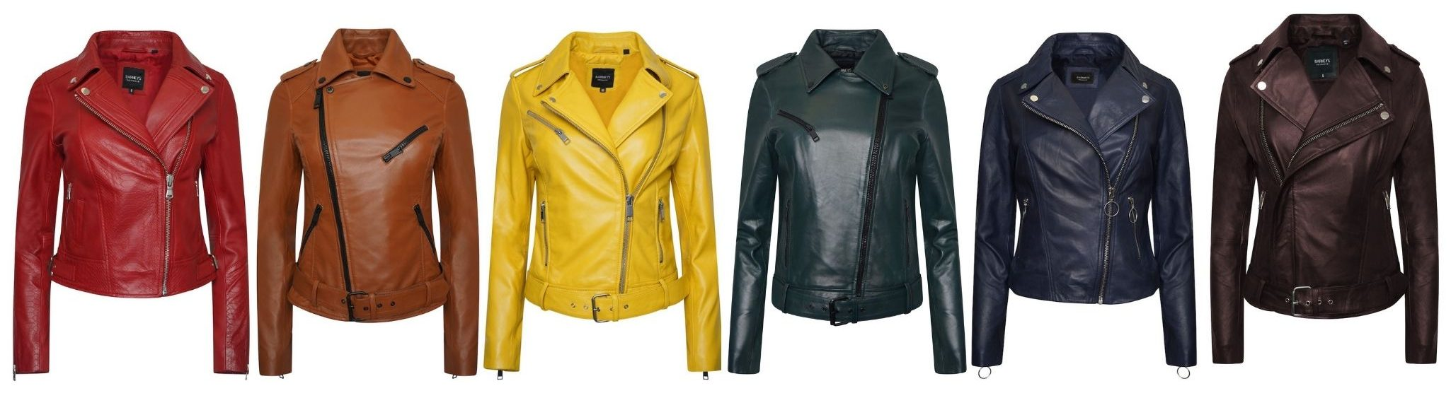 Image displays a rainbow display of coloured leather jackets starting with red, brown, yellow, forest green, blue and burgundy. The coloured leather jackets are from Barneys Originals.